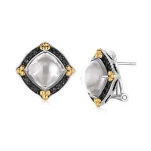 18K Yellow Gold and Sterling Silver Cabochon Earrings with Black Sapphire Edging