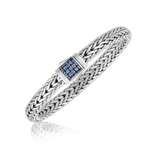 Sterling Silver Braided Men's Bracelet with Blue Sapphire Accents