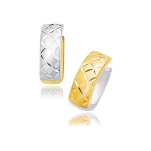 14K Two-Tone Gold Reversible Quilted Hinged Hoop Huggie Earrings