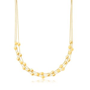 14K Yellow Gold Triple Strand Pebble Necklace