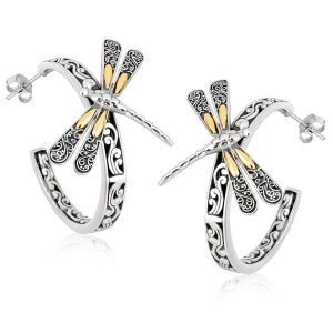 18K Yellow Gold and Sterling Silver Baroque Inspired Dragonfly Hoop Earrings