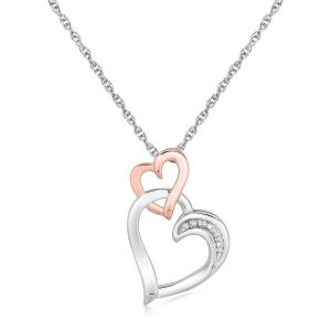 Sterling Silver Cascading Dual Heart Diamond Accented Pendant (.02 ct t.w.)