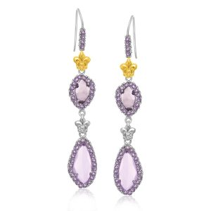 18K Yellow Gold & Sterling Silver Fleur De Lis Motif Amethyst Dangling Earrings