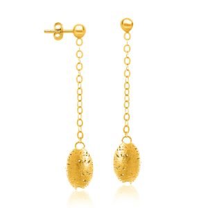 14K Yellow Gold Dangling Barrel Lace Wire Bead Earrings