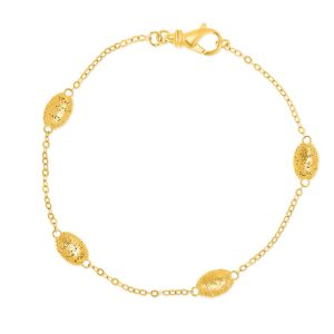 14K Yellow Gold Mesh Barrel Motif Station Bracelet