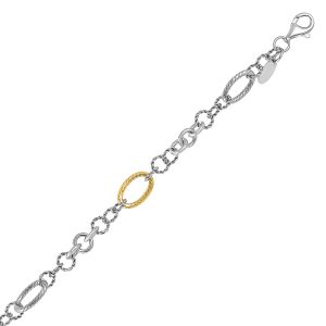 18K Yellow Gold and Sterling Silver Rope Motif Stationed Bracelet