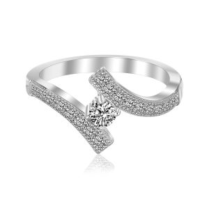 Sterling Silver Rhodium Finished Overlap Toe Ring with Cubic Zirconia Accents