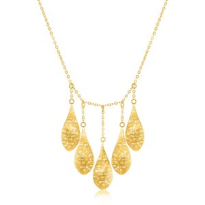 14K Yellow Gold Lace Wire Five Teardrop Necklace