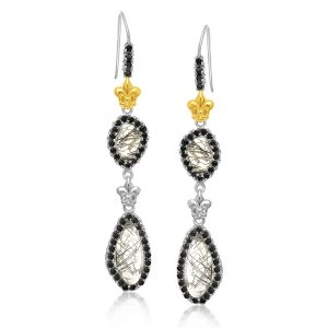 18K Yellow Gold & Sterling Silver Fleur De Lis Rutilated Quartz Dangling Earrings