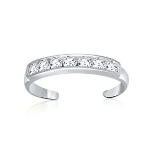 14K White Gold Pave Set Cubic Zirconia Toe Ring