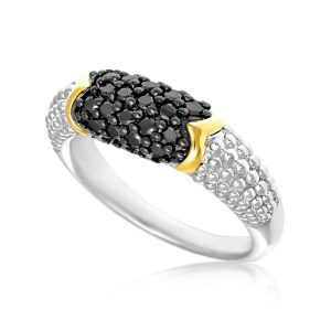 18K Yellow Gold & Sterling Silver Popcorn Ring with Black Diamonds
