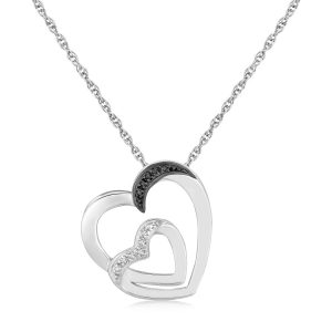 Sterling Silver Loop Dual Heart Diamond Accented Pendant (.02 ct t.w.)