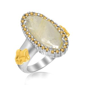 18K Yellow Gold & Sterling Silver Golden Rutilated Quartz Fleur De Lis Ring