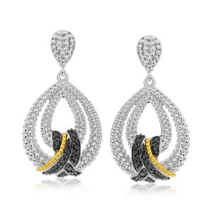 18K Yellow Gold & Sterling Silver Popcorn Teardrop Black Diamond Earrings