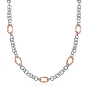 18K Rose Gold & Sterling Silver Oval Rope Motif Link Necklace