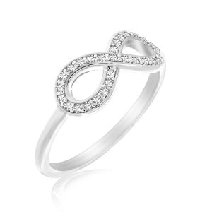 14K White Gold Infinity Ring with Diamond Accents (.09ct tw)