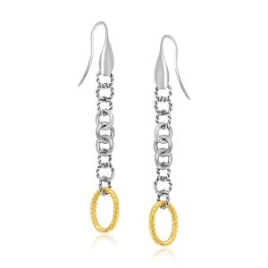 18K Yellow Gold & Sterling Silver Multi-Shape Cable Inspired Dangling Earrings