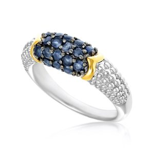 18K Yellow Gold & Sterling Silver Popcorn Motif Ring with Blue Sapphires