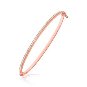 14K Two-Tone Gold Textured Center Slender Bangle