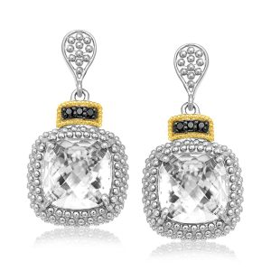 18K Yellow Gold & Sterling Silver Rock Crystal & Black Diamond Earrings