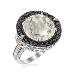 18K Yellow Gold & Sterling Silver Round Rock Crystal and Black Diamonds Ring
