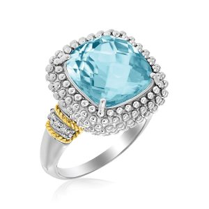 18K Yellow Gold & Sterling Silver Sky Blue Topaz and Diamond Popcorn Ring