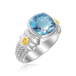 18K Yellow Gold & Sterling Silver Fleur De Lis Cushion Blue Topaz Popcorn Ring