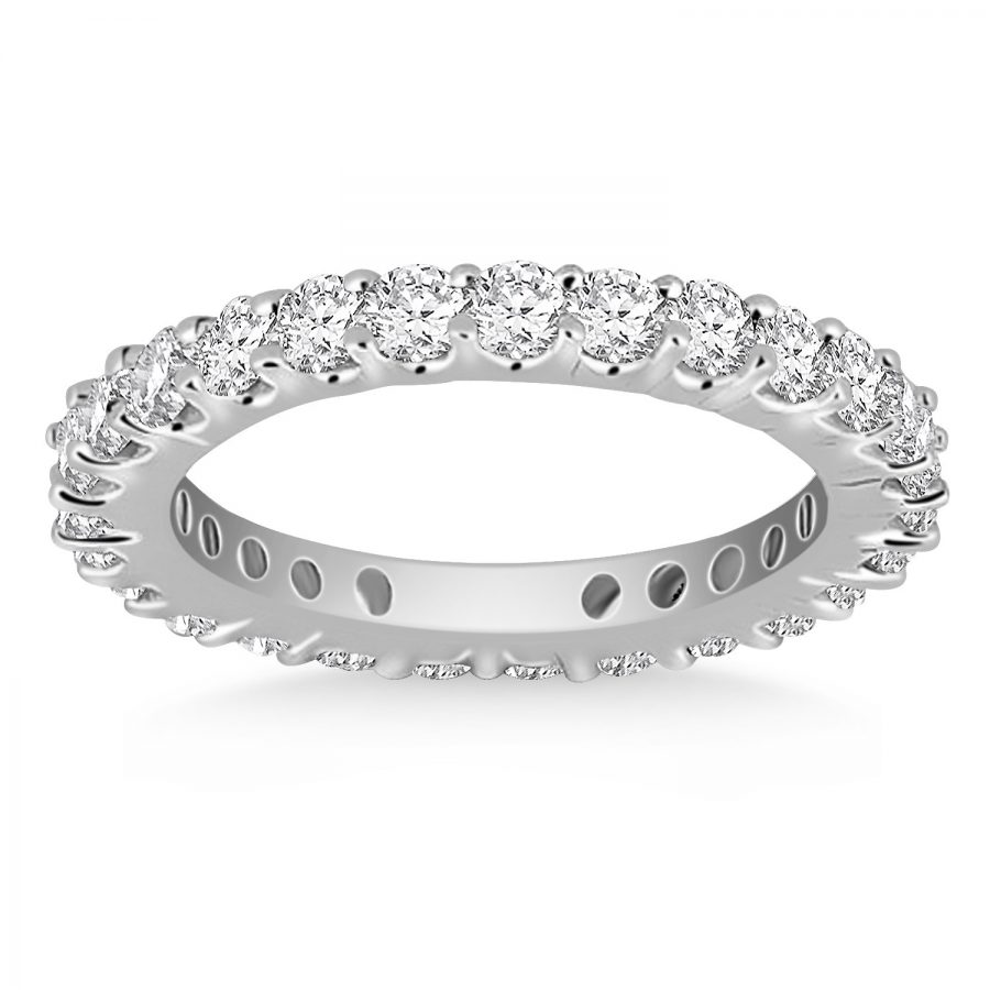 14K White Gold Common Prong Round Diamond Eternity Ring