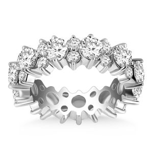 14K White Gold Ornamental Round Diamond Eternity Ring