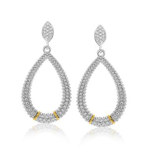 18K Yellow Gold & Sterling Silver Diamond Accented Graduated Popcorn Earrings