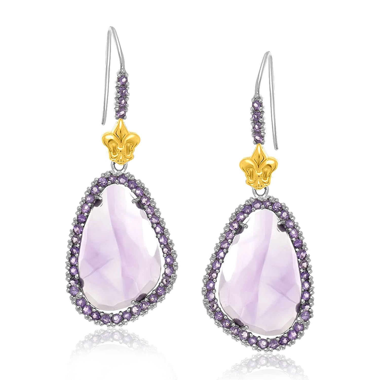 8223171b3 18K Yellow Gold & Sterling Silver Fleur De Lis Style Amethyst Drop Earrings