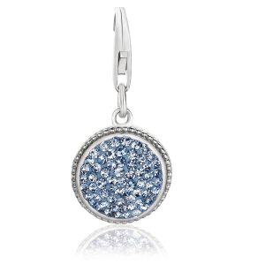 Sterling Silver Round Charm with Light Blue Crystal Embellishments