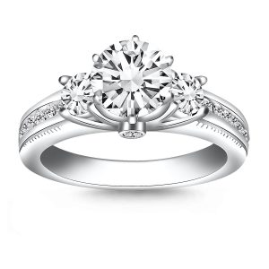 14K White Gold Multi Diamond Engagement Ring