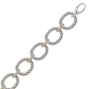 18K Yellow Gold and Sterling Silver Popcorn Ring Chain Bracelet