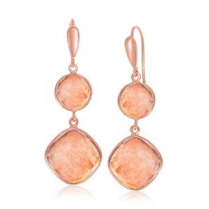 Sterling Silver Rose Gold Plated Raspberry Rutilated Quartz Earrings