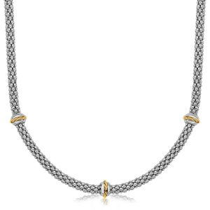 18K Yellow Gold and Sterling Silver Popcorn Necklace with Cable Motif Stations
