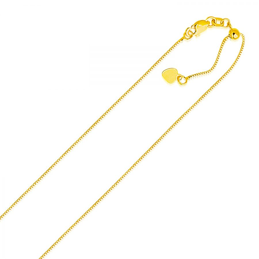 0.70mm 14K Yellow Gold Adjustable Box Chain