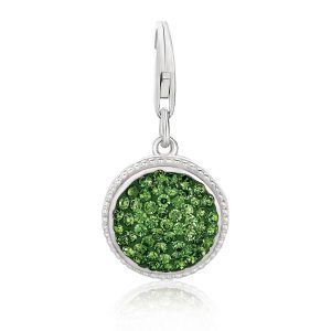Sterling Silver Round Charm with Green Tone Crystal Accents