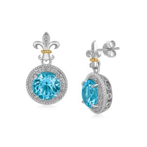 18K Yellow Gold and S. Silver B.Topaz and Diamonds Fleur De Lis Motif Earrings