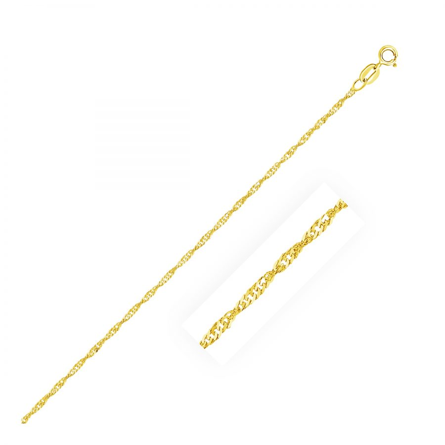 1.5mm 14K Yellow Gold Singapore Anklet