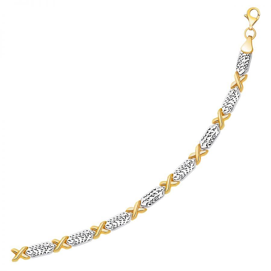 14K Two-Tone Gold Fancy X Line Bracelet
