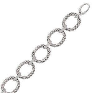 Sterling Silver Popcorn Ring Chain Bracelet with Diamond Accents (.17 ct. tw.)