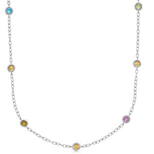 18K Yellow Gold and Sterling Silver 22'' Chain Necklace