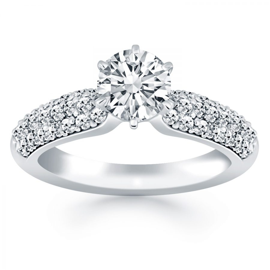 14K White Gold Triple Row Pave Diamond Engagement Ring