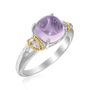 18K Yellow Gold & Sterling Silver Prong Set Square Amethyst and Diamond Ring