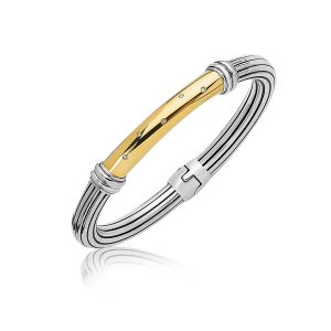 18K Yellow Gold and Sterling Silver Bangle with a Diamond Embellished Station