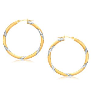 14K Two Tone Gold Polished Hoop Earrings (30 mm)