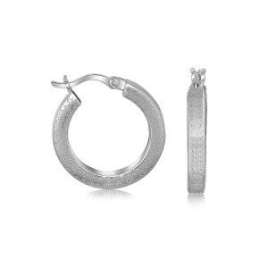 Sterling Silver Stardust Textured Hoop Earrings with Rhodium Plating