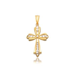 14K Two-Tone Gold Fancy Cross Pendant with Diamond Cuts