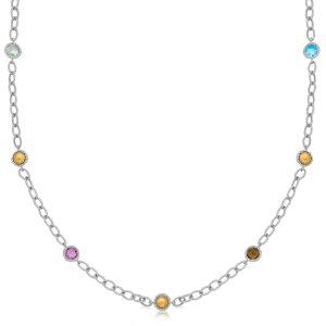 18K Yellow Gold and Sterling Silver Multi Gemstone Necklace